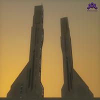 futuristic sci-fi skyscraper building dwg