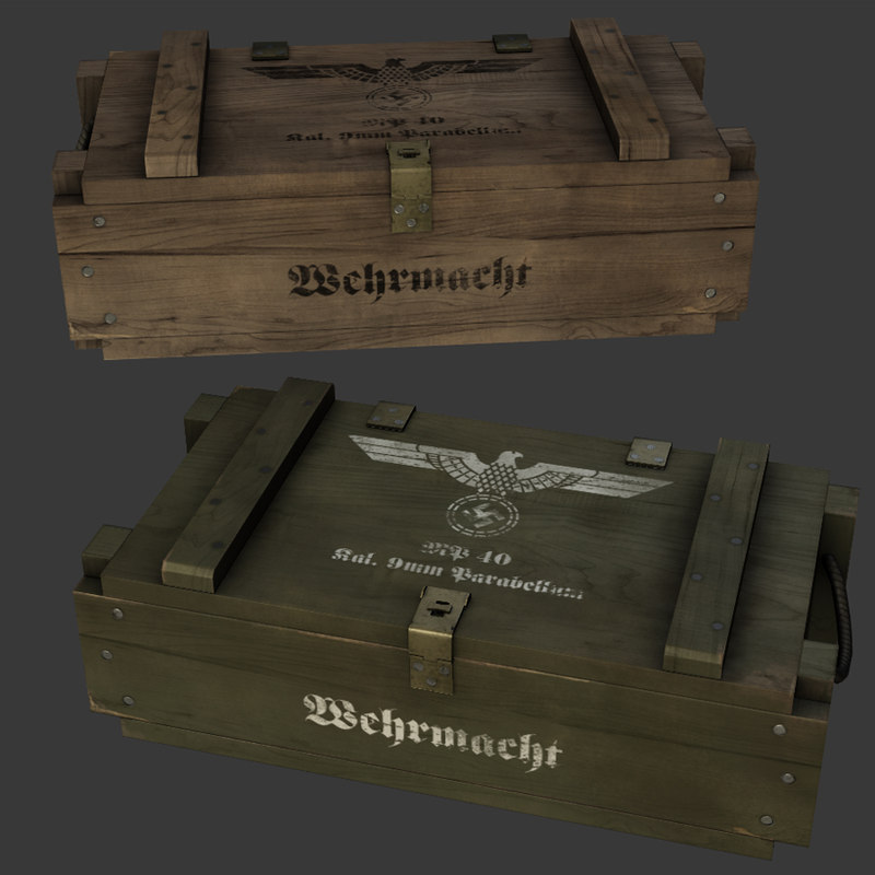 3d model german ww2 ammo crate
