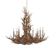 Tall spruce mule deer antle  through real antler chandelier