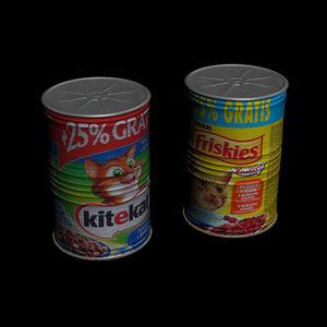 cans food cats 3d model