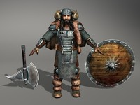 viking warrior axe 3d 3ds