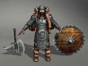 viking warrior axe 3d model