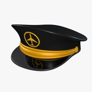 pilot hat 3d max