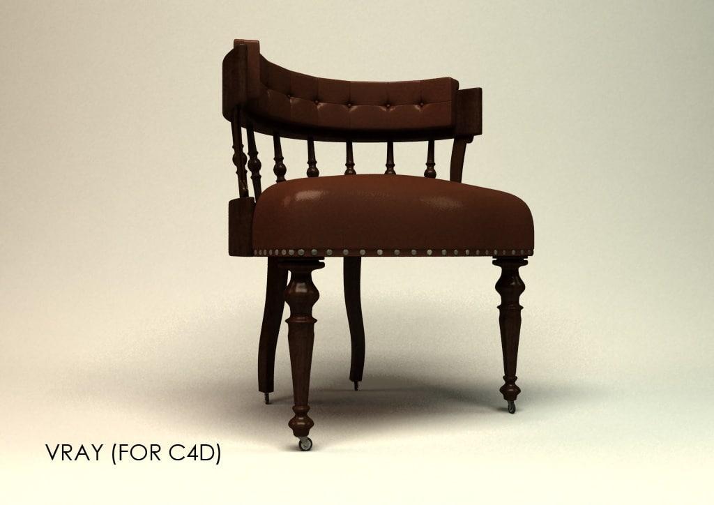 3d antique desk chair model