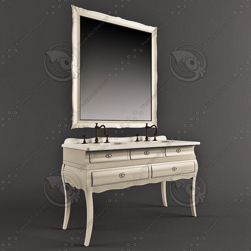3d bathroom furniture washbasin model