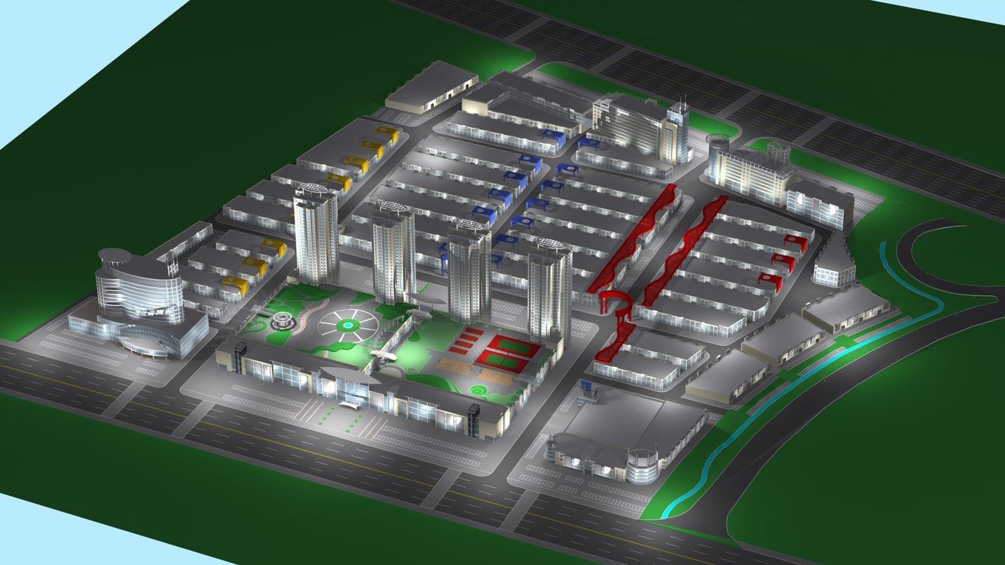 3d model suburb