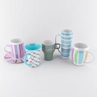 5 mugs 3d model