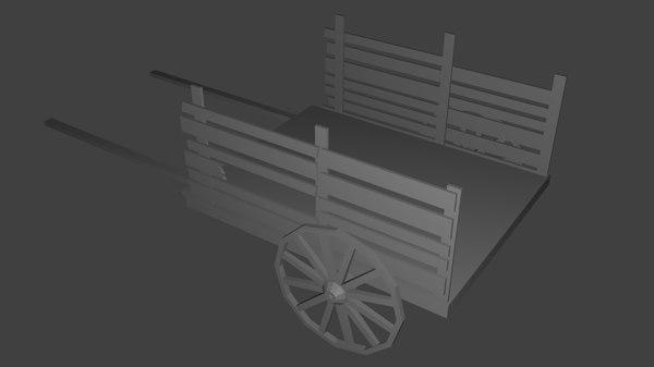free medieval cart 3d model