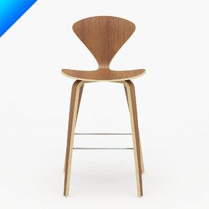 3d model cherner wood leg stool design