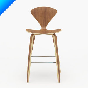 3d model cherner wood leg stool design
