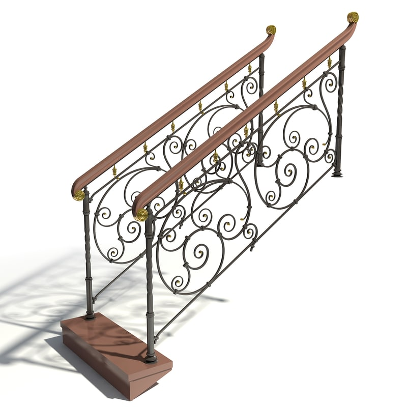 classic forged handrails 3d max