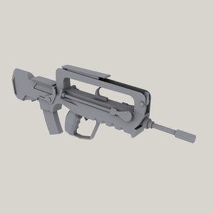 famas assault rifle 3d 3ds