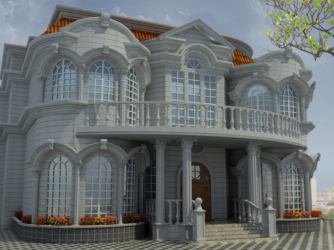 Villa exterior 3d model for Exterior design software free download