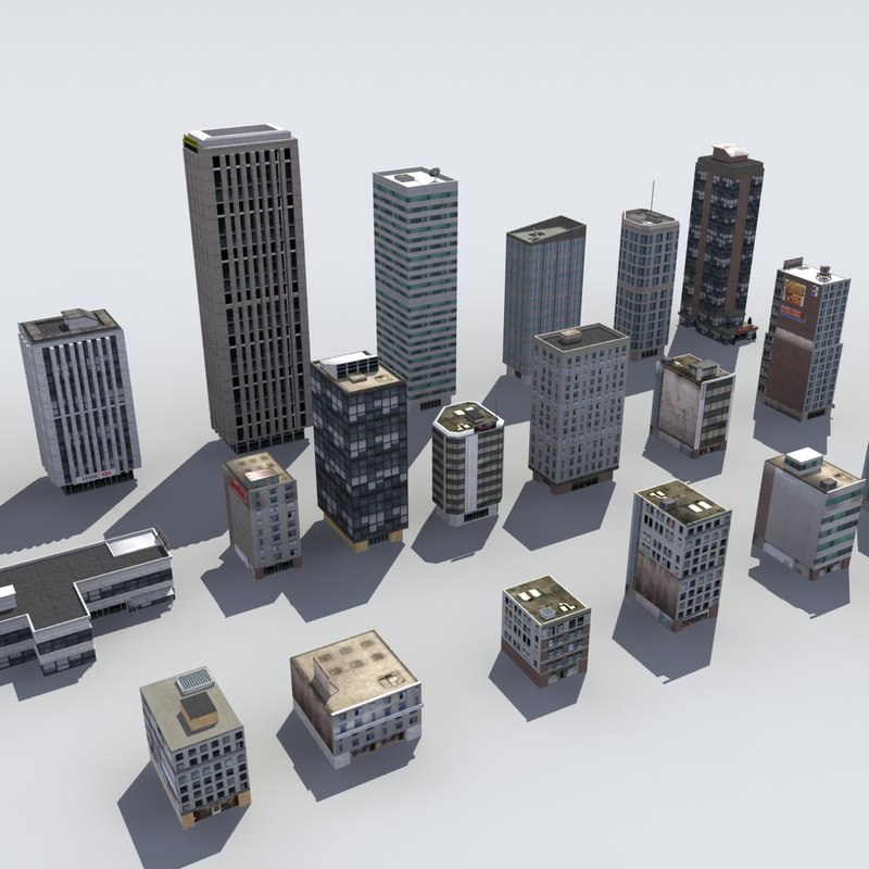 20 city buildings skyscrapers 3d 3ds