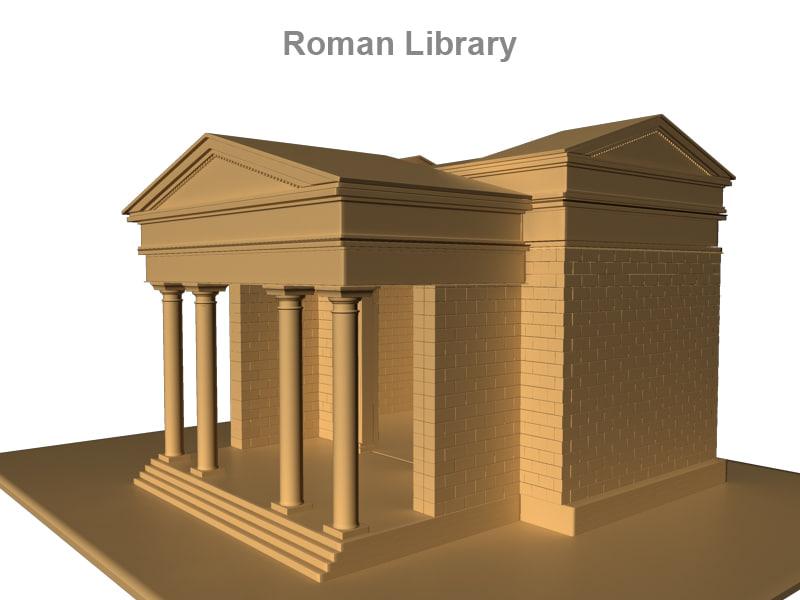 3d ancient roman library
