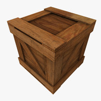 3d model square wooden crate