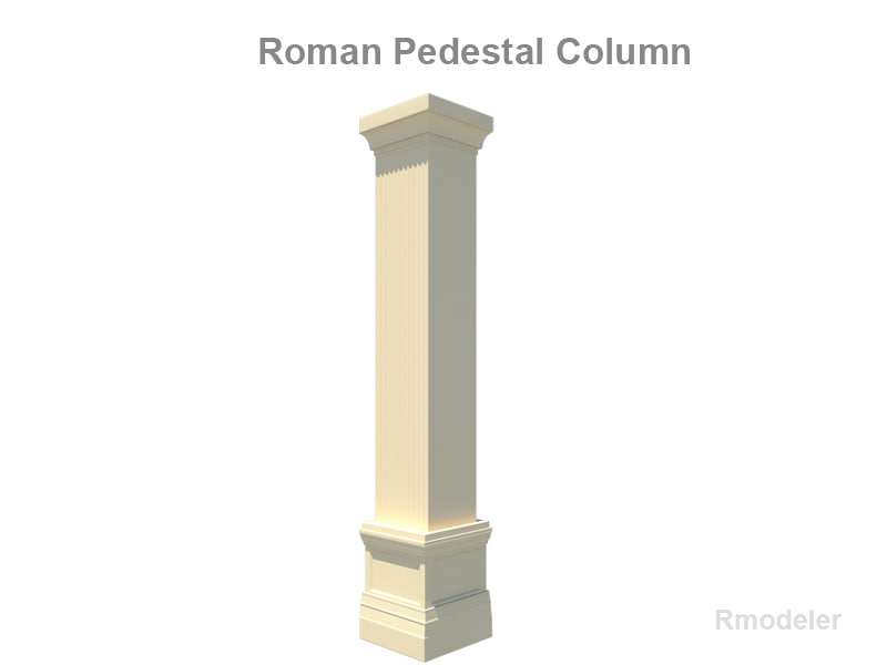 3d 3ds column square pedestal