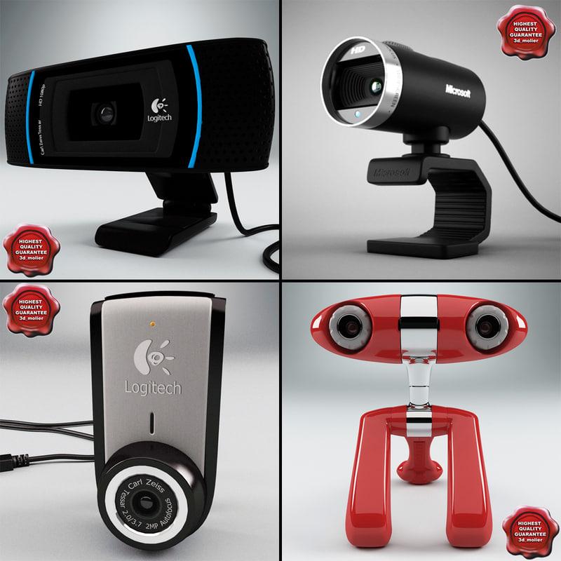 webcams logitech microsoft 3d model