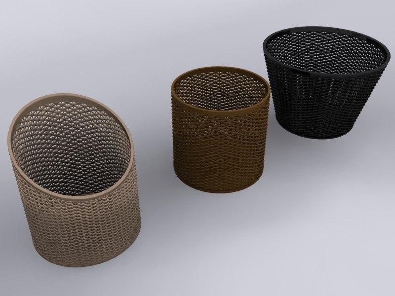wicker baskets 3d max