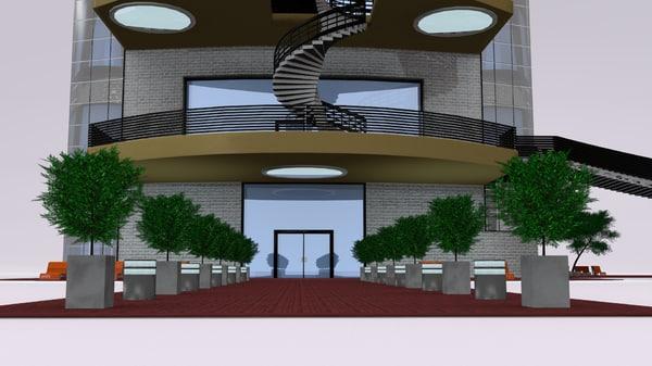 commercial building 3d obj