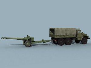 3ds max soviet d-20 ural-4320
