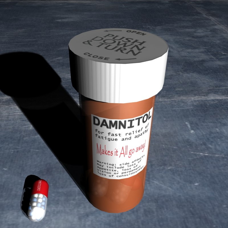 3d damnitol bottle pill