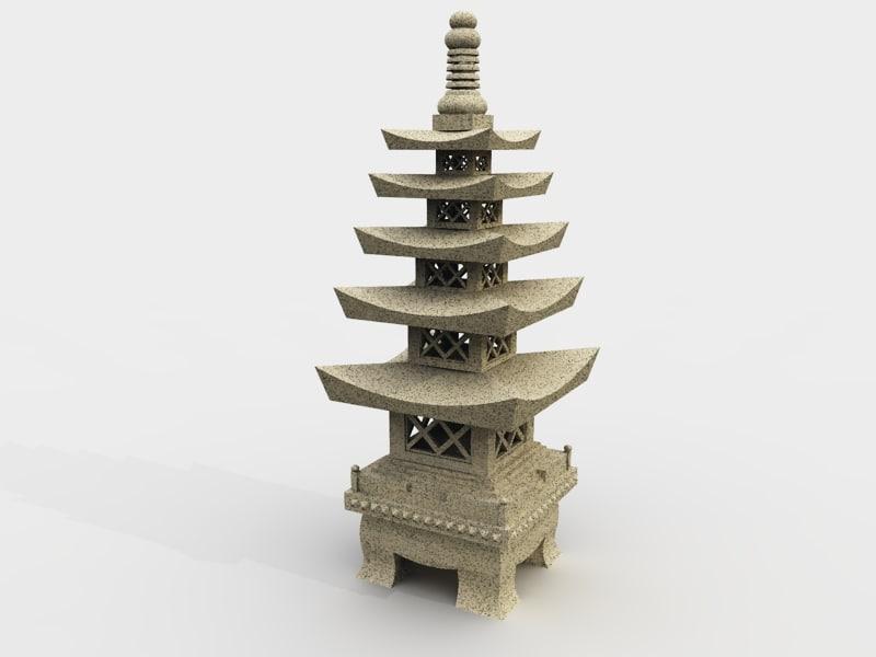 stone lantern 3d 3ds