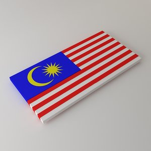 3d malaysian flag model