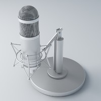 free retro recording microphone 3d model