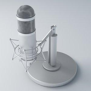 free retro recording microphone 3d model