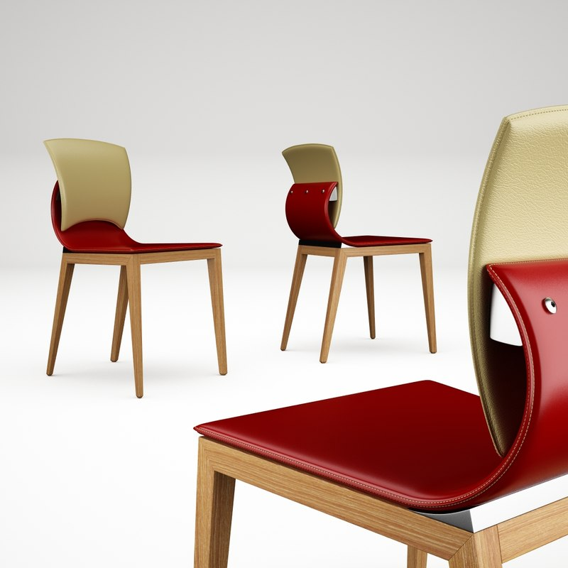 3d model bend leather wooden chair