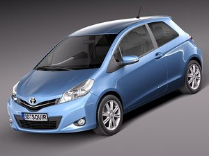 toyota yaris 2012 3-door 3d model