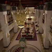 3d model hotel lobby modeled