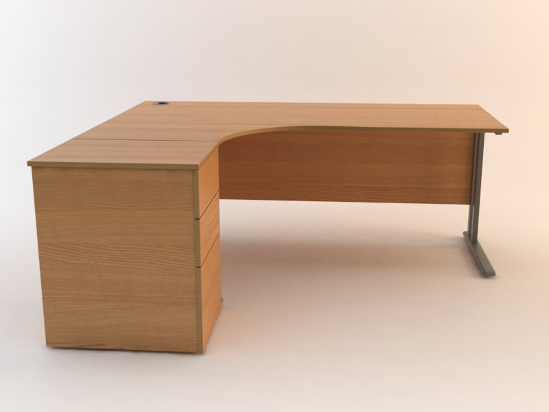 3d model office desk set drawers