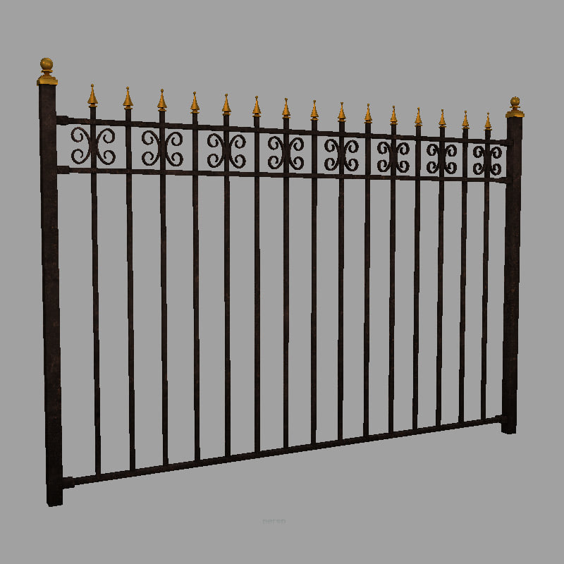 wrought iron fence obj