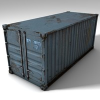 3d rusty cargo container polys model