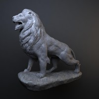 Standing Stone Lion Sculpture