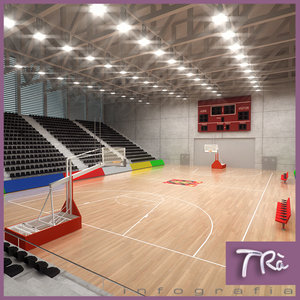 3ds max indoor basketball court 3