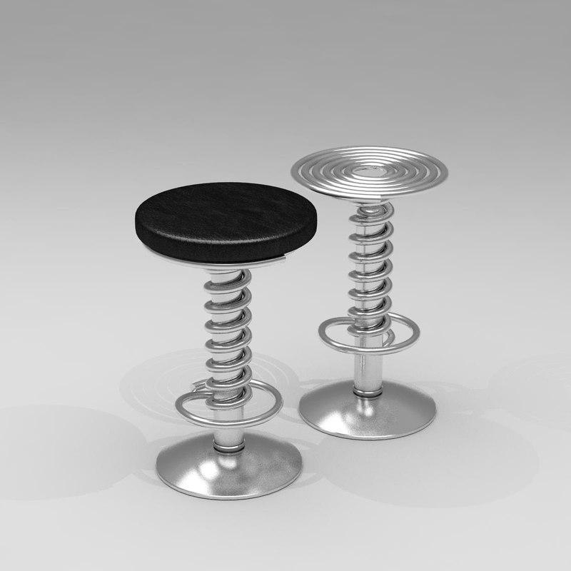 3d screw bar stool barstool model