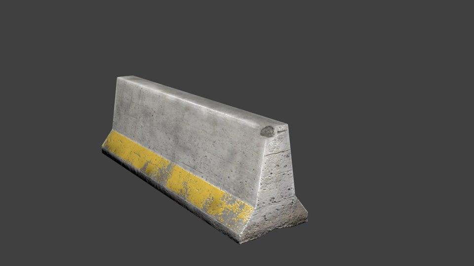 free 3ds model concrete barrier