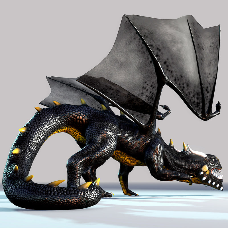 3d model fantasy dragon black