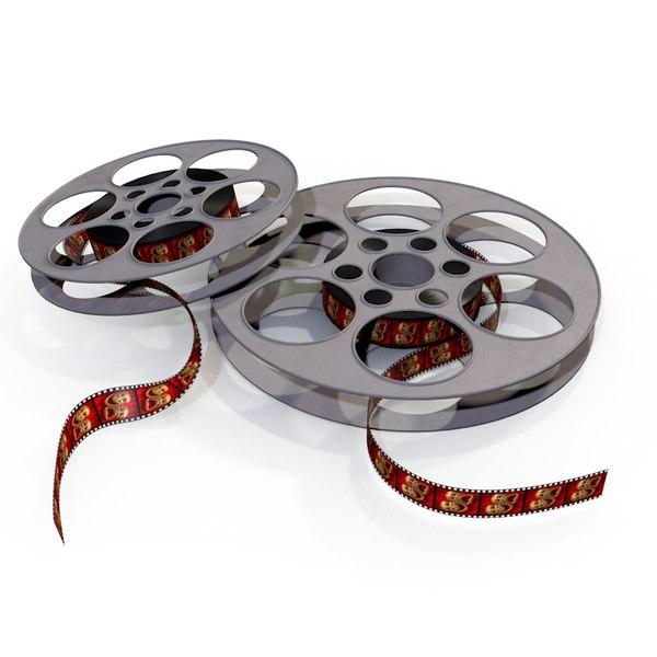 realistic film reels 3d obj