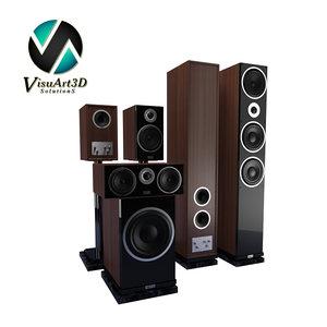 speakers heco metas set 3d model