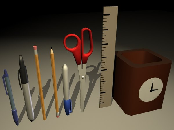 3d set office desk model