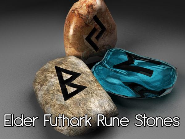 futhark rune stones 3d obj
