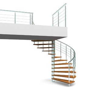 3d model spiral staircases step