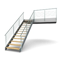 3d metal staircases step