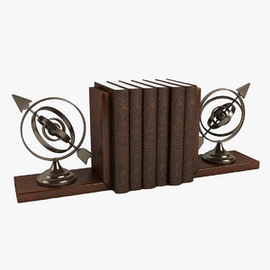armillary bookend book 3d model