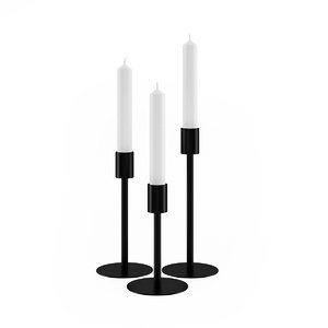 3d max black candlestick candle