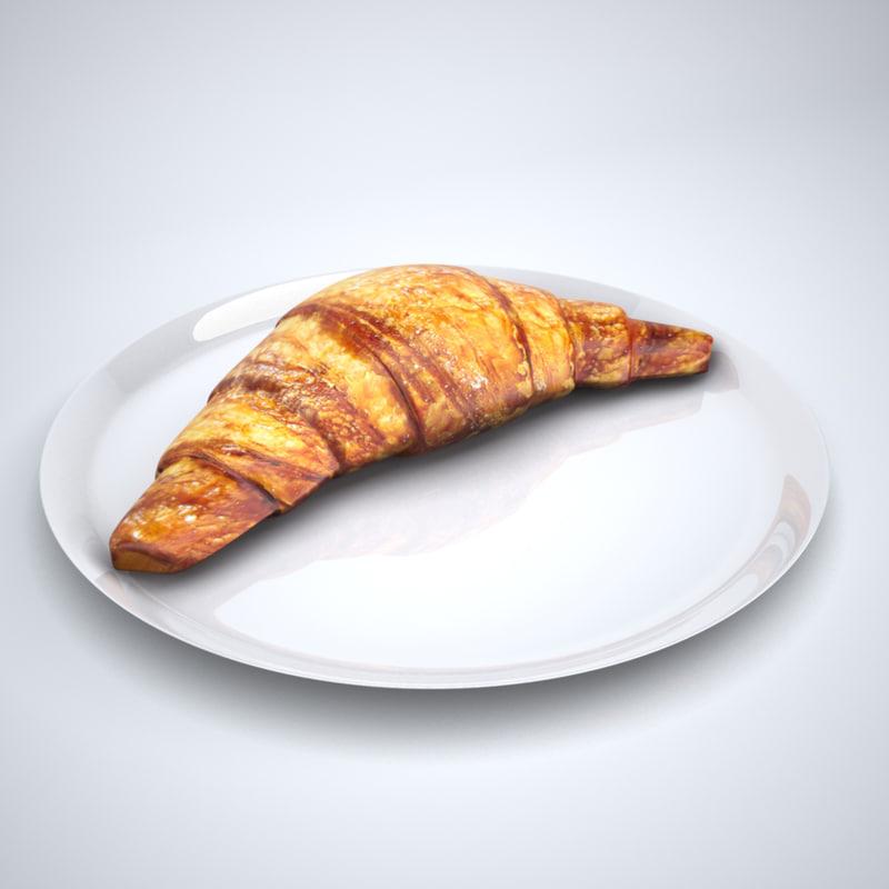 3d croissant low-poly unwrapped